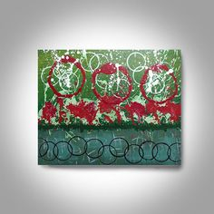 Acrylic Abstract Painting 30 x 24 Red Green Painting Wall