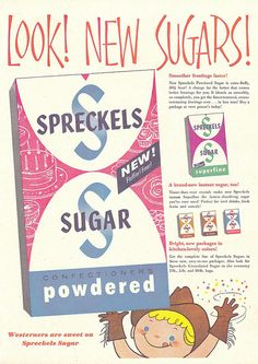 A cute and colourful 1956 ad for various types of sugar. #vintage #food #ad #1950s