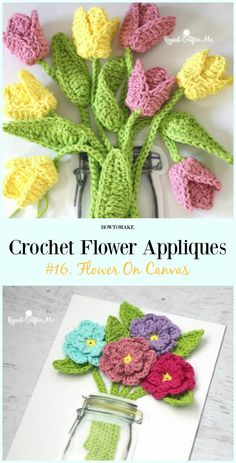 Flower On Canvas Free Crochet Pattern-Easy #Crochet #Flower Appliques Free Patterns