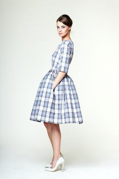 Edith Blue Tartan Dress by Mrs Pomeranz L 1X by mrspomeranz