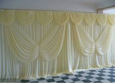 ice silk White Color with butterfly swag Wedding Drape curtain Backdrop(China (Mainland)) Wedding Stage Backdrop, Wedding Backdrop Design, Wedding Draping, Wedding Backdrops, Wedding Props, Mexican Wedding Decorations, Hanging Wedding Decorations, Satin Curtains, Curtains With Blinds