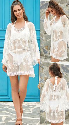 Women Flower Pattern White Lace Breathable See Through Sun Protection Cover Up