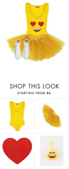 """""""Heart Eye Emoji Halloween Costume 2016"""" by garaff ❤ liked on Polyvore featuring WearAll and Converse"""