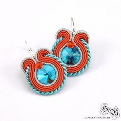 Mini Earrings Soutache, Round Dangle Earrings, Handmade Earrings with crystal, soutache earrings, small earrings soutache,orange/blue/silver by SBjewelrySoutache on Etsy