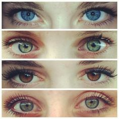 Blue, green and brown eyes.