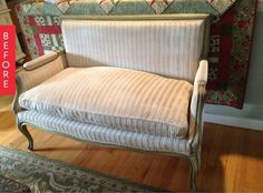 Before & After: Worn Vintage Settee Gets a Facelift — Definitely a find for $50.