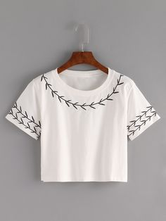 Shop Branch Embroidered Crop T-shirt - White online. SheIn offers Branch Embroidered Crop T-shirt - White & more to fit your fashionable needs.