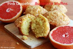Pink Grapefruit Buttermilk Muffins / Pink grapefruits are wonderful.  They really don't require any sugar at all to eat them plain.  So good, so juicy.