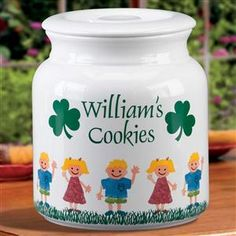 Personalized Stoneware Irish Family Cookie Jar with up to six Children Characters