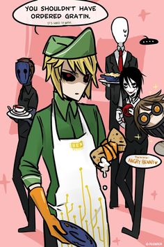 That's why you can't saw him in the comic. linked to : Creepypasta Cafe DISH WASHER : Ben Drowned in Cafe Creepypasta Slenderman, Creepypasta Characters, Ben Drowned, Creepy Pasta Comics, Creepy Pasta Family, Creepy Monster, Creepy Houses, Laughing Jack, Creepy Art