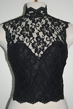 NEW ONLY HEARTS BLACK SHEER LACE BUSTIER CORSET OPEN BACK TOP 38B S M