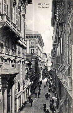 Via Garibaldi genova, cartolina antica City Maps, Roman Empire, Vintage Photography, Rome, Old Things, Places, Zen, Pictures, Travel