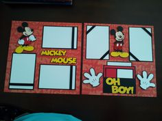 """Disney 12"""" X 12"""" Mickey Mouse OH BOY 2 Page Scrapbook Layout W Layered DIE Cuts 