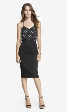 HIGH YOKE WAIST MIDI PENCIL SKIRT from EXPRESS. I have this, I need spring tops to wear with it.