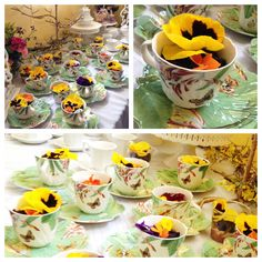 "Serve up dirt cake in a new and different way! Perfect for a spring themed tea party. Layer chocolate mousse and peanut butter pie filling into your favorite tea cups then sprinkle with ""dirt"" (Oreos thrown in the food processor). Top with an edible flower like pansies to see who is brave enough to eat one! (Almost everyone at our birthday party tried one and we all agreed they taste like perfume.)"