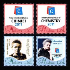 MOLDOVA. Personalized stamps. Int. Year of Chemistry, Marie Curie, 4v, MNH.