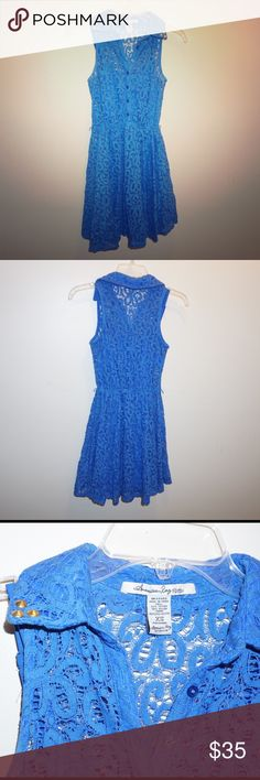 American Rag Blue Lace mini Dress Nicely made American Rag blue lace mini dress. Features gold studs on the color and belt loops on the side if you'd like to add a belt. In awesome condition no fading, piling, tears, stains, ect. Feel free to make a reasonable offer or bundle for discounts! American Rag Dresses Mini