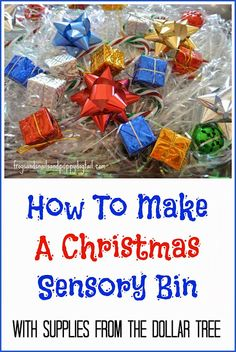 How to make a Christmas Sensory Bin-with supplies from the dollar tree by FSPDT