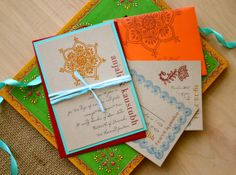 Henna Love - Modern Indian Wedding Invitations, Orange, Aqua & Red - Purchase to Start the Ordering Process  (As Seen on Style Me Pretty)
