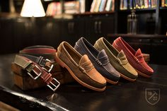 Sedona in Tan, Blue, Olive and Red - Slip-on Penny Loafer Men's Casual Shoes by Allen Edmonds, $195; Cottonwood Belt in Red, Green and Navy - Men's Premium Leather Casual Belts by Allen Edmonds, $88 #allenedmonds Casual Belt, Casual Shoes, Men Casual, Penny Loafers, Loafers Men, Allen Edmonds, Classic Man, Swagg, Shoe Collection