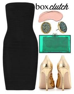 """""""Untitled #371"""" by trinirockstarr ❤ liked on Polyvore featuring Hervé Léger, Kate Spade, Charlotte Olympia, Gianvito Rossi and NYX"""