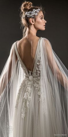 emanuel brides 2018 bridal sleeveless deep plunging v neck heavily embellished bodice elegant romantic soft a line wedding dress sheer cape open v back sweep train 08 zbv - Emanuel Brides 2018 Wedding Dresses Sheer Wedding Dress, Bohemian Wedding Dresses, Wedding Dress Styles, Dream Wedding Dresses, Boho Wedding, Bridal Dresses, Wedding Gowns, Viking Wedding Dress, Rustic Wedding