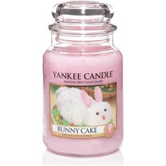 1270730 Bunny Cake Yankee Candle Large Jar Candle 22 oz ($25) ❤ liked on Polyvore featuring home, home decor, candles & candleholders, rabbit home decor, bunny home decor and yankee candle