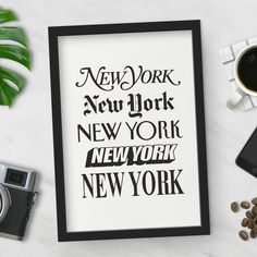 'New York' Wall Art Typography Print