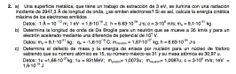 Ejercicio de Física Moderna propuesto en el examen PAU de Canarias de 2008 - 2009 Setiembre, Opción B.