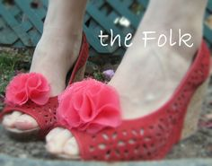 Shoe Clips in Coral Chiffon Poms- Flower Shoe Clips