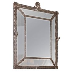 Large Beveled Mirror with Decorative Metal Frame