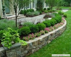 Stone Wall Landscape | Stone Walls | Stonework Sitting Wall | Retaining Walls for Landscaping ...
