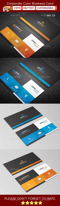 Corporate Color Business Card Template PSD. Download here: https://graphicriver.net/item/corporate-color-business-card-v23/17391852?ref=ksioks