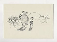 We say Good-bye  - Winnie the Pooh classic style poster print  copy of original illustration by E.H. Shepard A3, A4, A5, 5x7  size