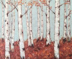Birch Tree Painting using Oil and Cold Wax. Painted with a knife. By Kim Rhoney