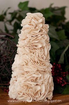 Learn how to make this DIY ruffle tree with this simple tutorial. Beautiful in any home!