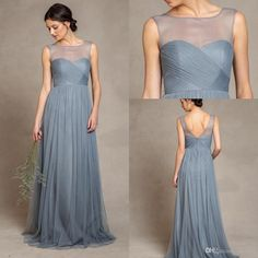 2016 Grey Elegant Sheer Crew Neck Bridesmaid Dresses Custom Made Backless Tulle Maid Of Honor Dresses Long Party Dresses Bridesmaid Dresses Short Bridesmaiddresses From Allanhu, $242.94| Dhgate.Com