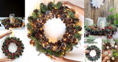 Ο απλός τρόπος για να δημιουργήσετε ιδιαίτερα εντυπωσιακά, εύκολα και οικονομικά DIY Χριστουγεννιάτικα Στεφάνια με κουκουνάρια Christmas Wreaths, Holiday Decor, Diy, Bricolage, Do It Yourself, Homemade, Diys, Crafting