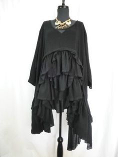 THE MOST EXQUISITE BLACK LINEN RUFFLES LAGENLOOK TUNIC YOU EVER DID SEE!
