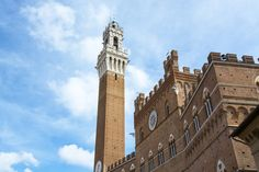 Detailed shot of the Torre del Mangia and Piazza del Campo in Siena