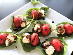 kentucky derby appetizer - caprese skewers with a balsamic reduction, perfect derby app!