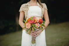 Peach-Orange-Garden-Rose-Bouquet love these colors if you go with grapefruit flower girl dresses