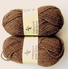 50%OFF//Pingouin Laine Nylon//*(2x50gr.Balls) Collor Light (Mocha) Brown for Socks//*2 x 50grams Makes 1 pair Adult sock.//Was (16.00) Now!