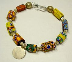 African Trade Beads | Antique African Trade bead bracelet IN0144 | Timbuktu to Kathmandu ...