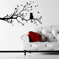 cat decals for walls | Cat On A Branch With Birds Wall Stickers / Wall Decals | eBay
