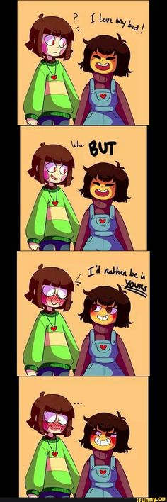 Don't ship them (you did realize that chara and frisk is transgender right?)--------> no, they have a gender, just that it was never confirmed by Toby Fox, their genders are supposed to be open for interpretation. Anime Undertale, Undertale Memes, Undertale Ships, Undertale Drawings, Undertale Cute, Pokemon, Toby Fox, Fandom, Funny Comics