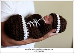 Newborn Football Cocoon and Beanie Set Custom Made to Order. $40.00, via Etsy.