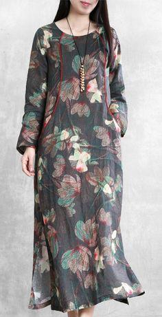 Beautiful floral linen dresses o neck pockets Maxi Dresses – SooLinen Pakistani Fashion Casual, Muslim Fashion, Gothic Fashion, Linen Dresses, Cotton Dresses, Maxi Dresses, Floral Dresses, Mode Hijab, Kurta Designs