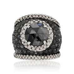 5.95 ct. t.w. Black and White Diamond Ring In 18kt White Gold $5,171.25