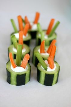 Cucumber veggie cups filled with your choice of dip, hummus or salad dressing. (Finger foods for kids!)